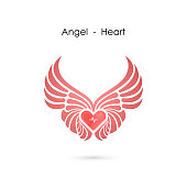 Heart shape with angel wings icon design template.Love symbol.Valentine's Day sign.Emblem isolated on white background.Vector illustration