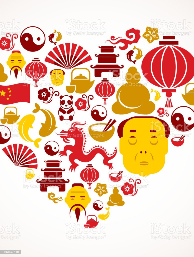 Heart shape with China icons vector art illustration