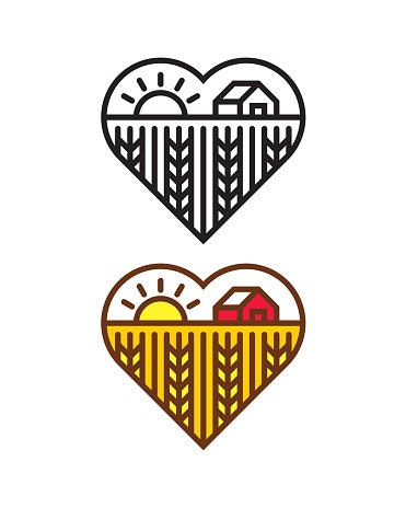 Heart shape with Farm landscape