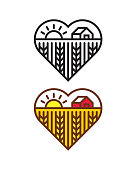 Heart shape with farm landscape. Files included: Vector EPS 10, HD JPEG 4000 x 5000 px