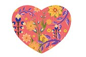 A pink heart shape vector illustraion filled with different types of yellow and purple flowers