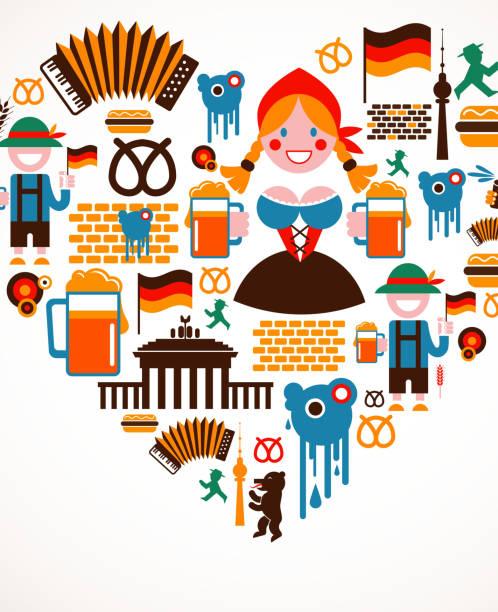 ilustrações de stock, clip art, desenhos animados e ícones de forma de coração com ícones de alemanha - berlin wall