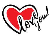 Vector illustration of heart shape LOVE You
