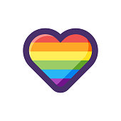 Vector illustration of a heart shape with the colors of the rainbow flag. Design element good for backgrounds, pieces of news, social media platforms, online messaging and mobile apps, as well as all kinds of design ideas and concepts.
