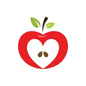 istock Heart shaped apple vector icon, label, emblem design 692806882