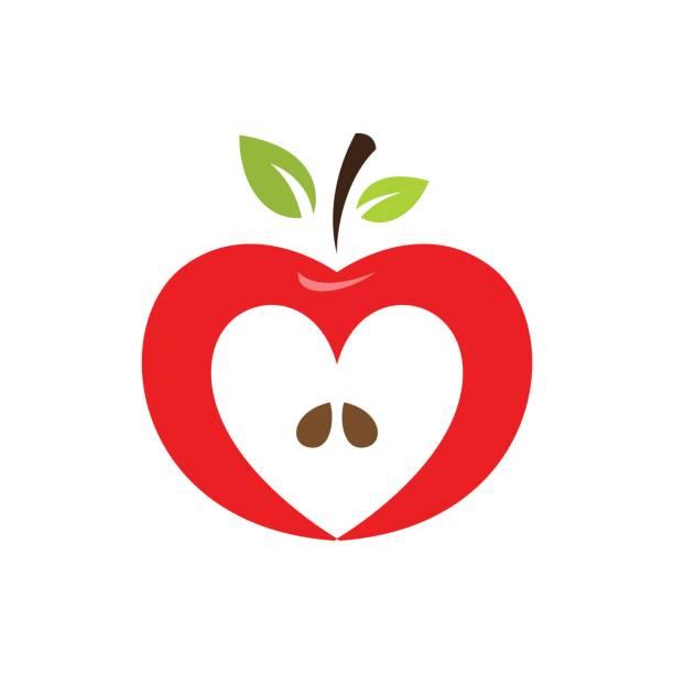Corazón en forma de icono de vector de apple, etiqueta, diseño del emblema - ilustración de arte vectorial