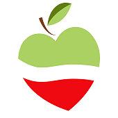 Heart shaped apple vector logo, label, emblem design