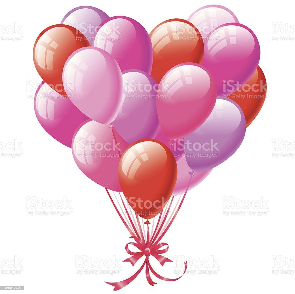 Heart Shaped Balloon Bunch vector art illustration