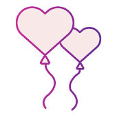 Heart shaped balloons fliat icon. Balloons in the shape of heart illustration isolated on white. Two heart love balloon gradient style design, designed for web and app. Eps 10