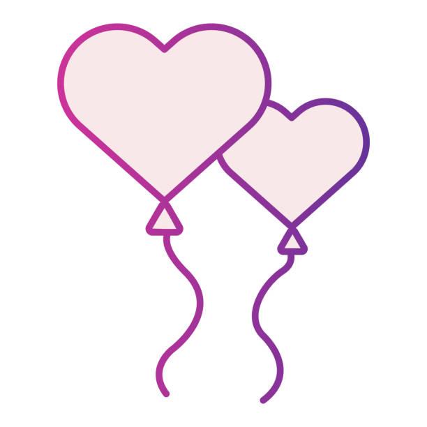 stockillustraties, clipart, cartoons en iconen met hartvormige ballonnen fliat pictogram. ballonnen in de vorm van hartillustratie die op wit wordt geïsoleerd. twee hart liefde ballon gradiënt stijl ontwerp, ontworpen voor web en app. eps 10. - flirten