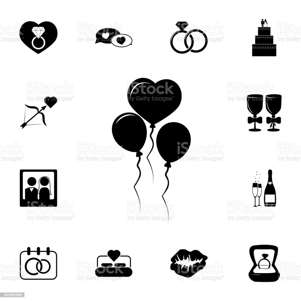 heart shaped balls icon. Set of wedding elements icon. Photo camera quality graphic design collection icons for websites, web design, mobile app vector art illustration