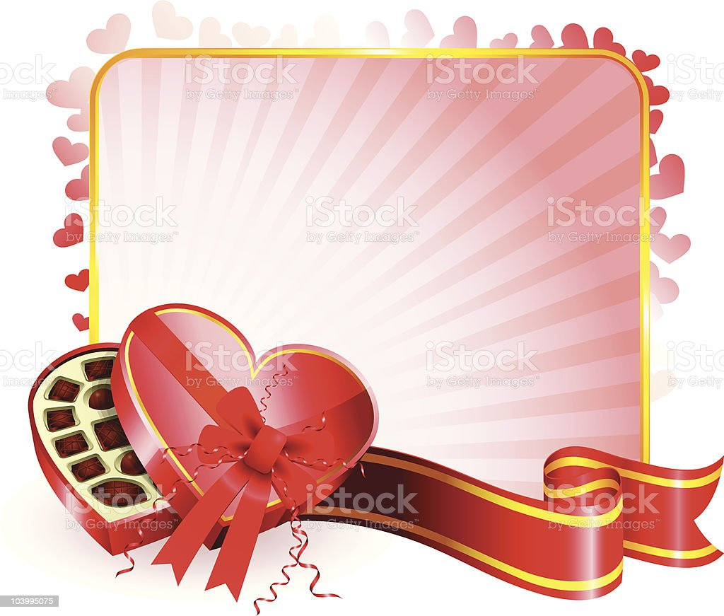 Heart shaped box of chocolates on Valentine's Day card royalty-free stock vector art