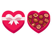 Heart shaped box of chocolates with ribbon bow, open and closed. Isolated vector clip art illustration.