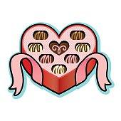 Heart shaped box with Valentine chocolates