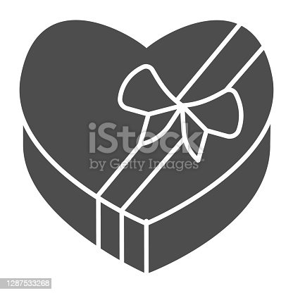 istock Heart shaped candy box solid icon, valentine day concept, Gift box of chocolates sign on white background, sweet with love icon in glyph style for mobile concept. Vector graphics. 1287533268