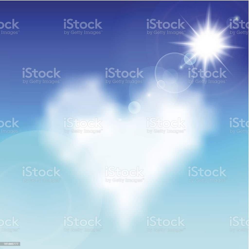Heart shaped cloud in the blue sky royalty-free stock vector art