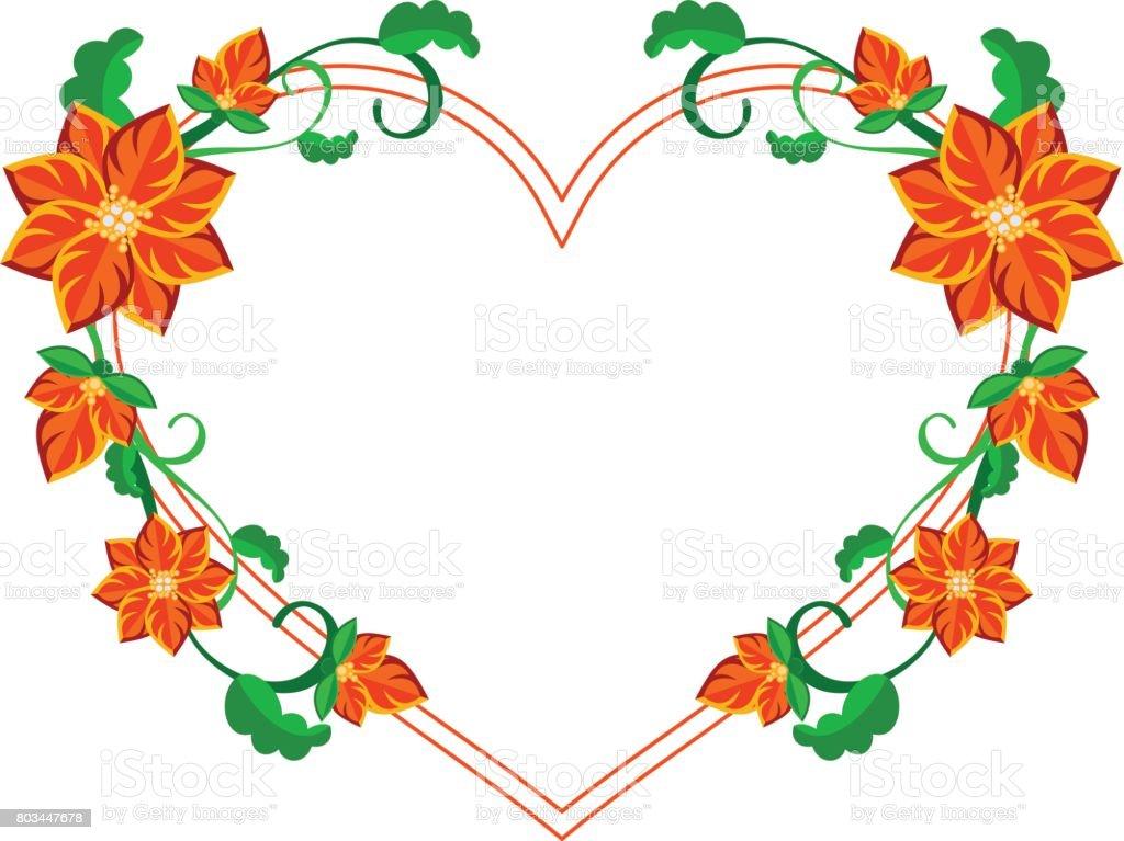 Herzförmige Zierrahmen Mit Abstrakten Roten Blüten Vektorcliparts ...