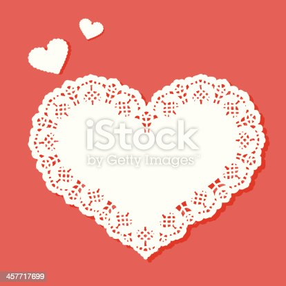 istock Heart shaped doily with a designer border 457717699