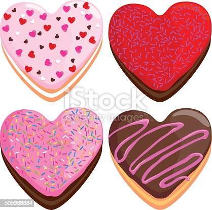 Vector illustration collection of colorful heart shaped donuts on white background.