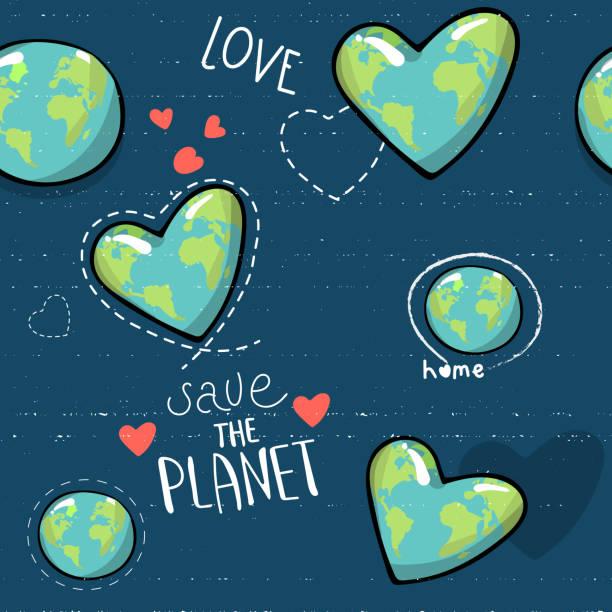 bildbanksillustrationer, clip art samt tecknat material och ikoner med hjärtformade jorden. cartoon världen. web ikoner grön glad natur karaktär. älska ekologi jorden planet världen karta sömlösa mönster vektorillustration. rädda planeten. motiverande inskription. - recycling heart