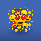 Various Smiling Happy Yellow Emoticons in Front of a Smart Phone's Screen, Vector Concept Design