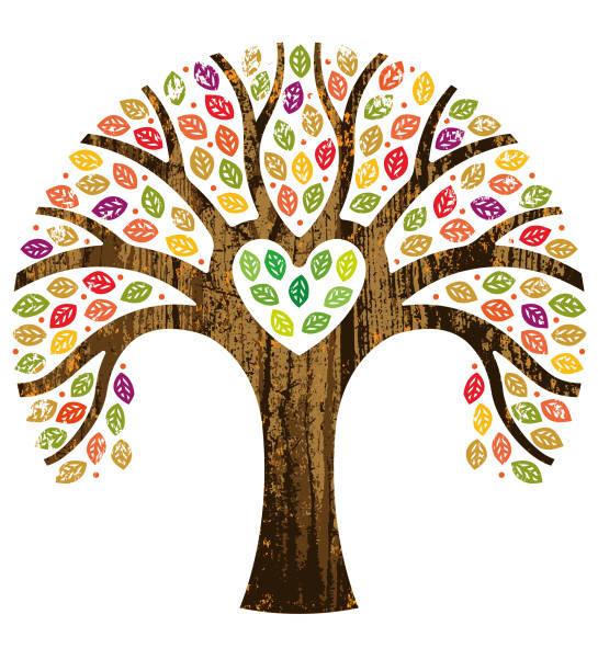 Heart shaped fall tree illustration vector art illustration