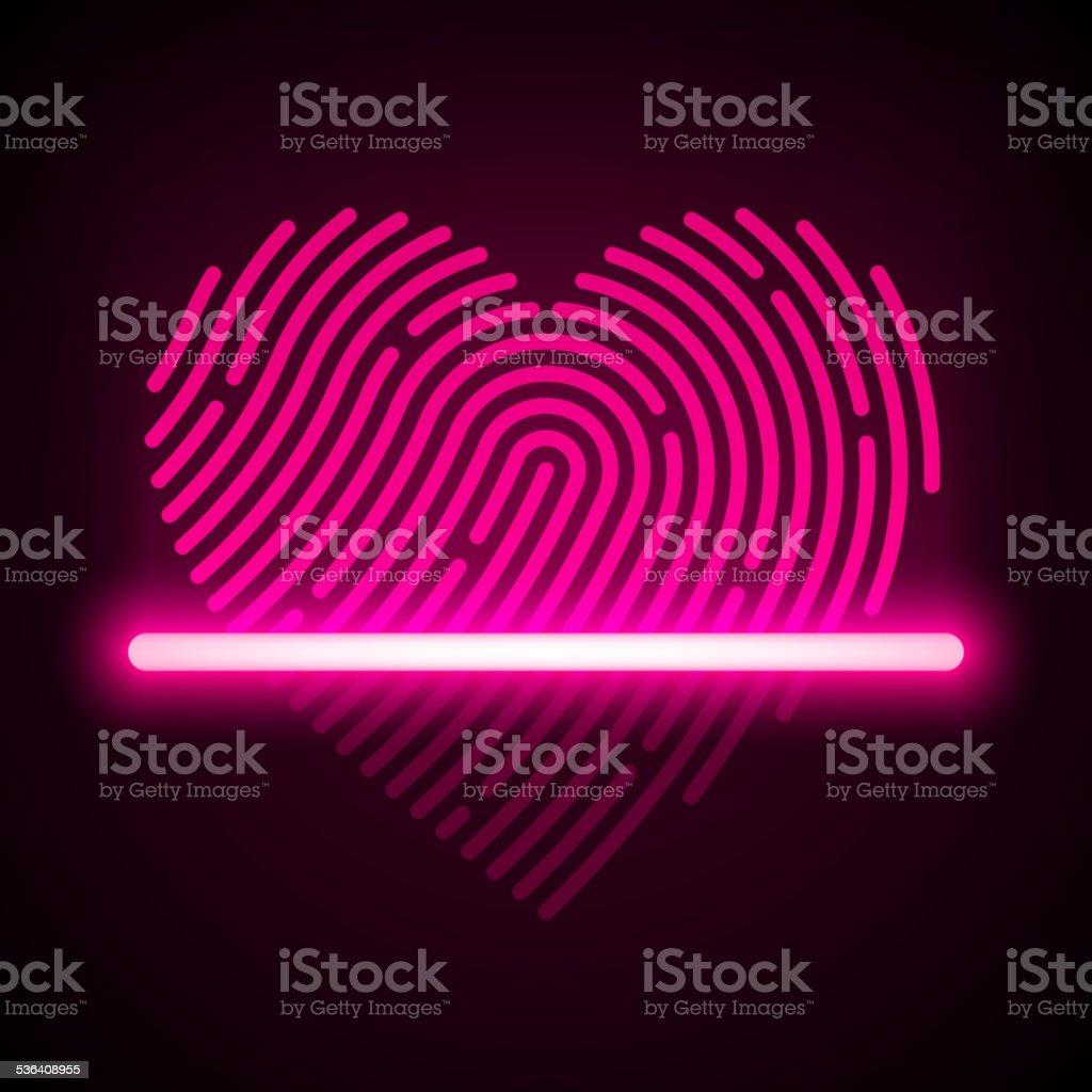 Heart shaped fingerprint scanner vector art illustration