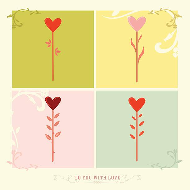 illustrazioni stock, clip art, cartoni animati e icone di tendenza di fiori a forma di cuore per la sua dolce metà - love word