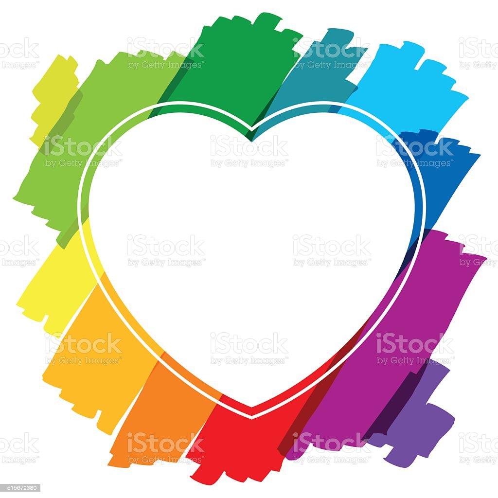 Heart Shaped Frame Brush Strokes Colors Stock Vector Art & More ...