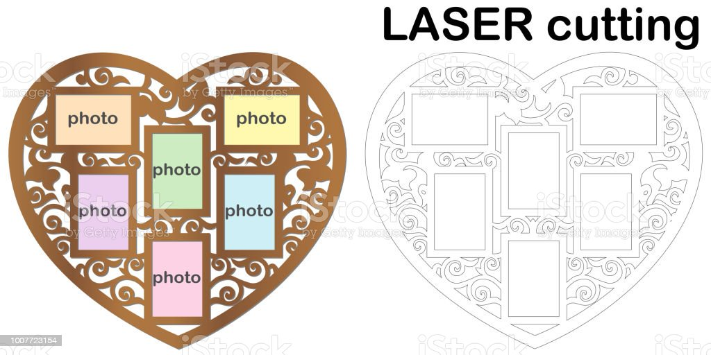 Heart Shaped Frame For Photos For Laser Cutting Collage Of Photo