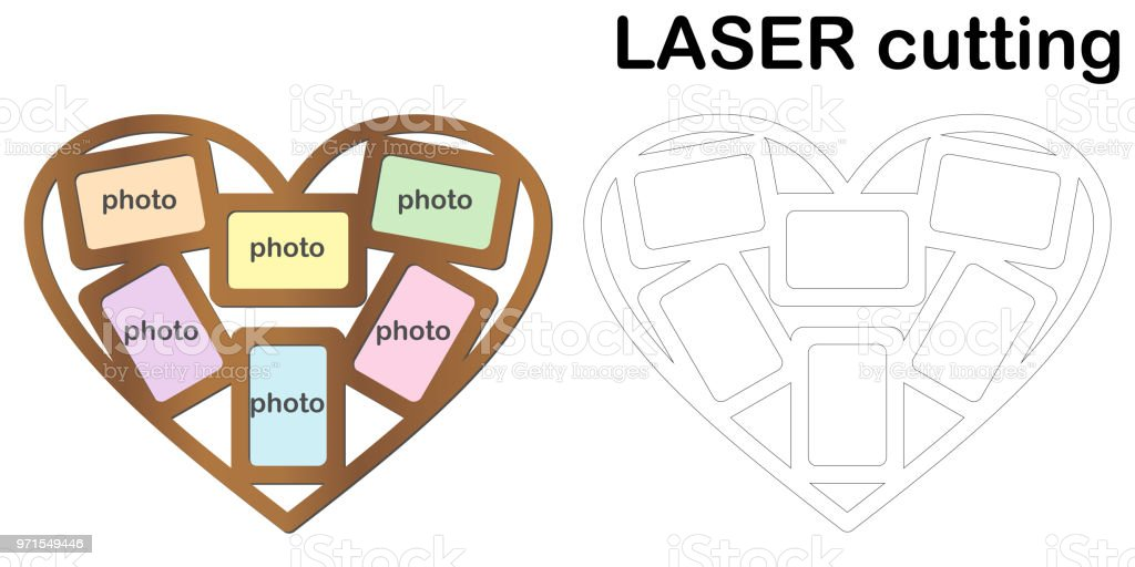 Heart shaped frame for photos for laser cutting. Collage of photo frames. Template laser cutting machine for wood and metal vector art illustration
