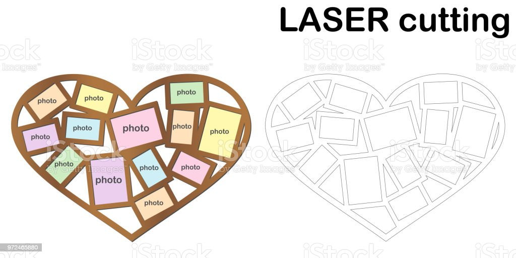 Heart shaped frame for photos for laser cutting. Collage of photo frames. Template laser cutting machine for wood and metal. vector art illustration