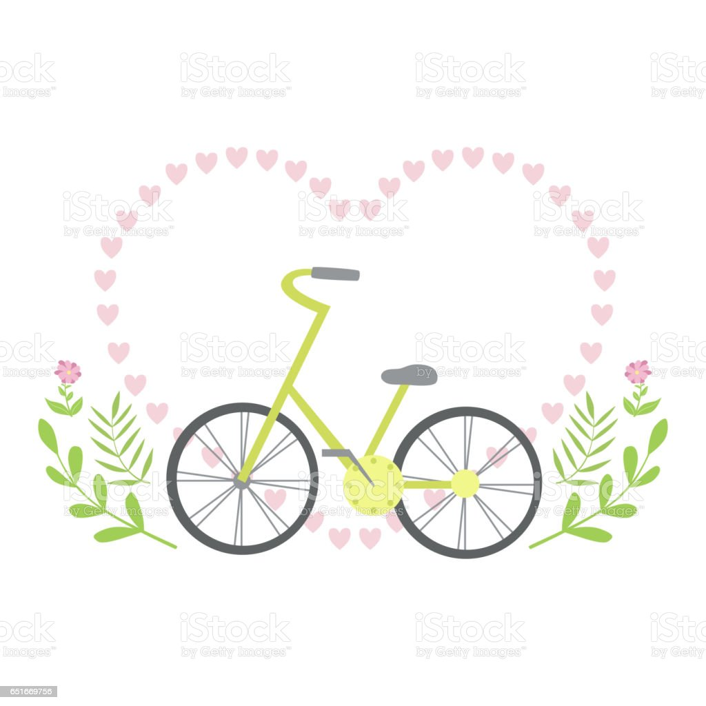 Heart Shaped Frame Formed With Small Hearts And Plants Template St ...