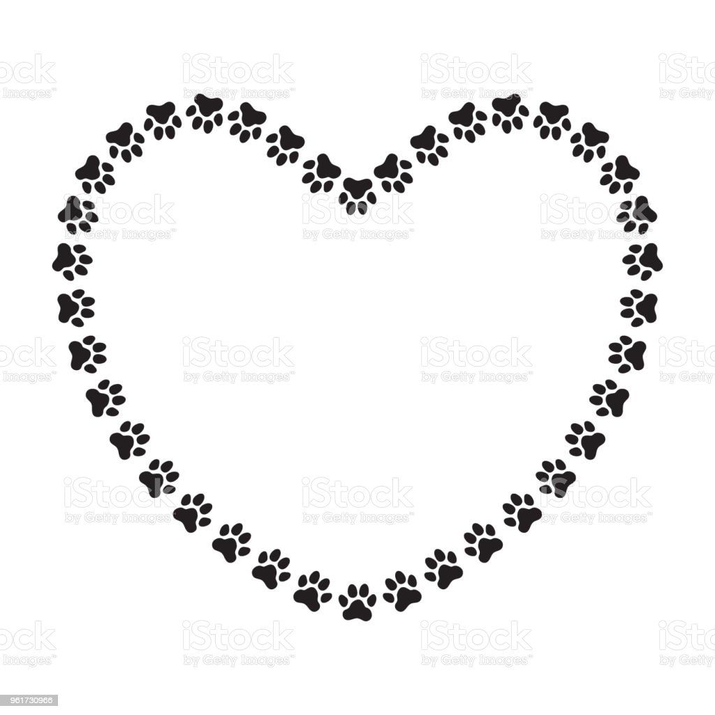 Heart Shaped Frame Made Of Paw Prints Stock Vector Art & More Images ...