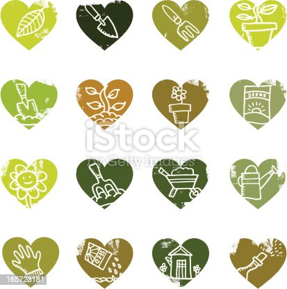 A set of gardening icons in heart shapes.