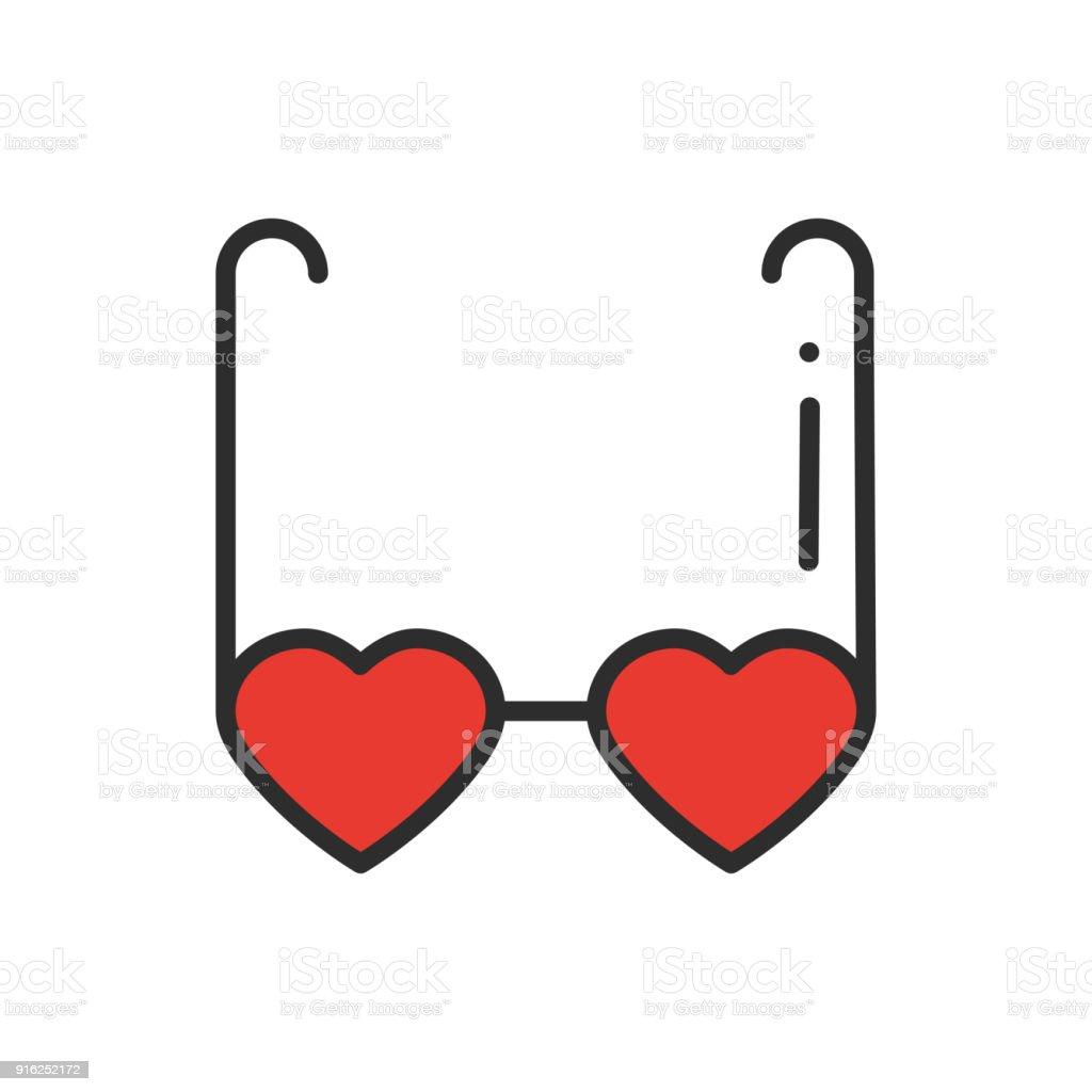 Ícone da linha de óculos em forma de coração. Óculos de sol retrô com  corações 9c5afa338e