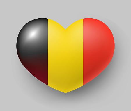 Heart shaped glossy national flag of Belgium