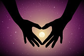 Romantic vector illustration with hand gesture silhouette on starry background. Full moon in starry sky