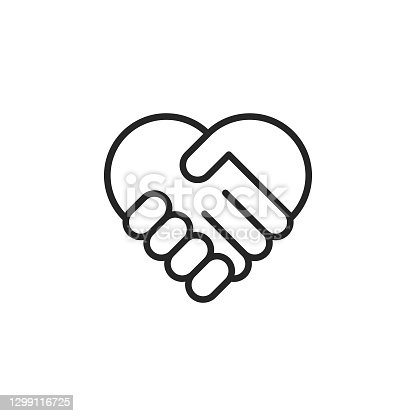 istock Heart Shaped Handshake Line Vector Icon. Editable Stroke. Pixel Perfect. For Mobile and Web. 1299116725