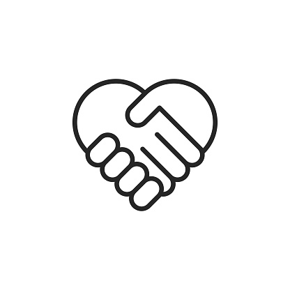 Heart Shaped Handshake  Vector Line Icon with Editable Stroke on White Background.