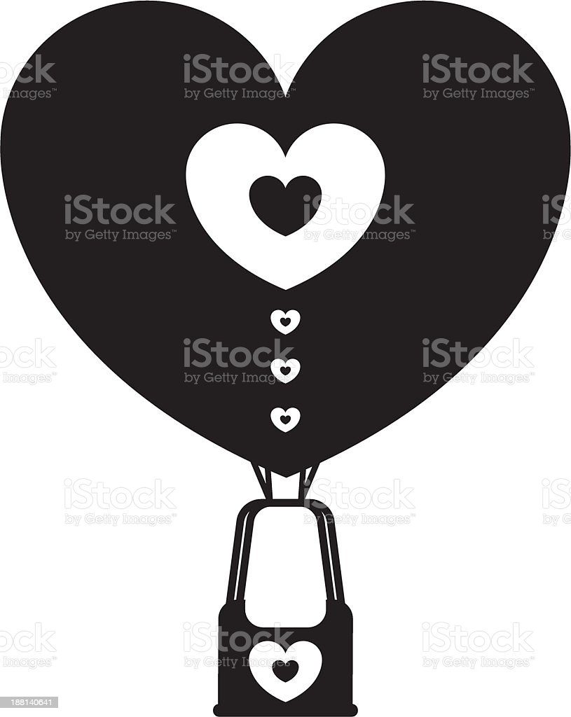 Heart Shaped Hot Air Balloon Silhouette royalty-free heart shaped hot air balloon silhouette stock vector art & more images of basket