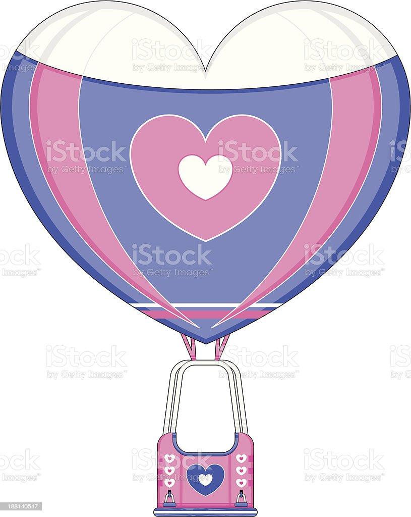 Heart Shaped Hot Air Balloon royalty-free stock vector art