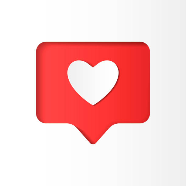 heart shaped icon like in paper cut style - naśladownictwo stock illustrations