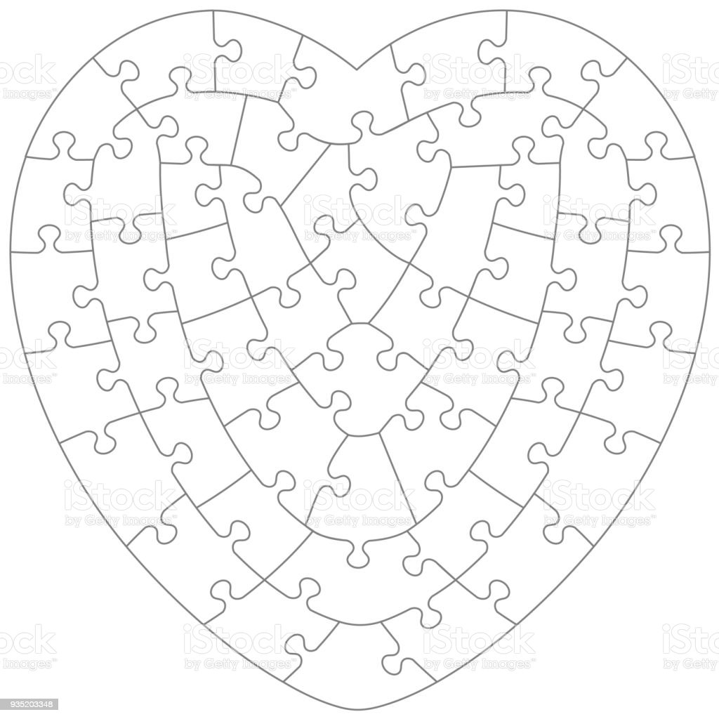 Heart shaped jigsaw puzzle template vector art illustration
