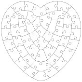 jigsaw puzzle blank template or cutting guidelines with pieces of