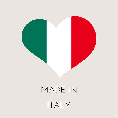 Heart shaped label with Italian flag. Made in Italy Sticker. Factory, manufacturing and production country concept. Vector stock illustration