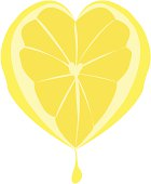 A beautiful abstract illustration of a lemon in the shape of a heart and a drop of juice squeezing out.