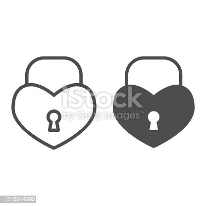 istock Heart shaped lock line and solid icon. Romantic padlock in shape of love symbol, outline style pictogram on white background. Valentine day sign for mobile concept and web design. Vector graphics. 1215914990