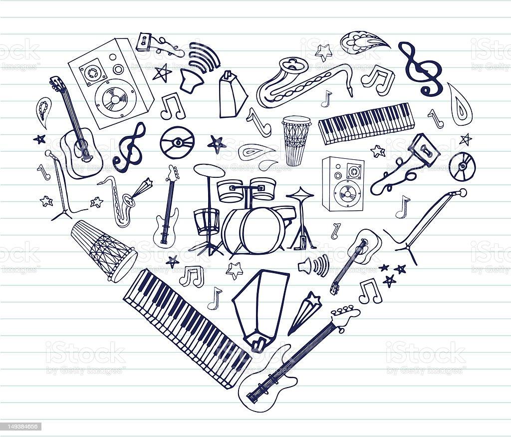 Heart Shaped Music royalty-free stock vector art