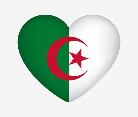 Heart Shaped National Flag of Algeria. I Love My Country. Vector Isolated Illustration